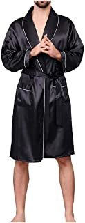 Men Black Lounge Sleepwear Faux Silk Nightwear for Men Comfort Silky Bathrobes Dressing Gown Men's Sleep Robes