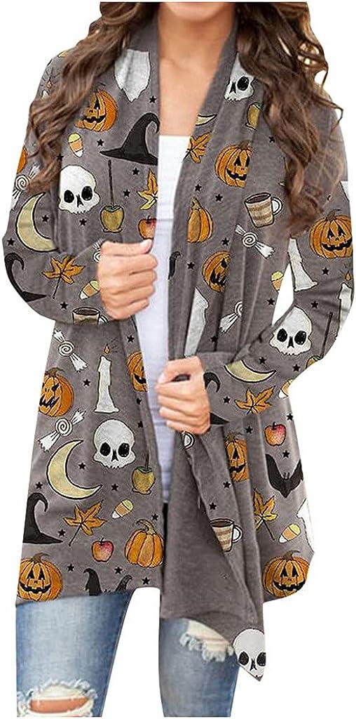 UOCUFY Halloween Sweatshirts for Womens, Womens Sweater Long Sleeve Open Front Pumpkin Print Slouchy Cardigan Coat