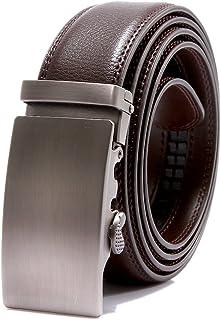 EMMA Mannen verstelbare lederen ratel riem automatische gesp zwart voor pakken 35mm