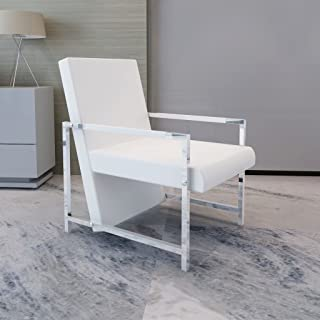 Festnight Modern Tub Chair Leather Upholstery Reclining Chair with Armrest and Chrome Feet Cube Chair Living Room Waiting Room Home Office Reception Furniture (White)