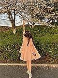Zzx Vestido romántico Rosa Rosado A-Línea Mujer 2021 Verano Fried Street Estudiante Muñeca Falda (Color : Pink, Size : One Size)
