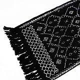 Ukeler Dekorativer geometrischer Kelim-Teppich, Baumwolle, bedruckt, moderner handgewebter Flickenteppich mit Quasten, langlebig, für Küche, Waschküche, Schlafzimmer, 60 x 130 cm, abstraktes Schwarz - 5