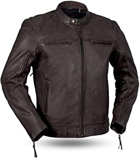 First Mfg Co Diamond Men's Leather Motorcycle Jacket (Brown, X-Large)