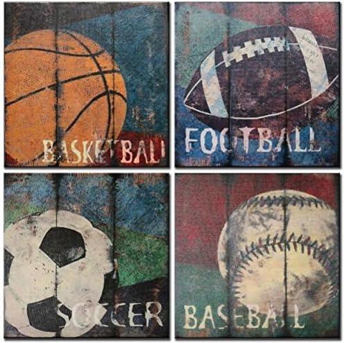 FUNHUA Basketball Soccer Football Sports Themed Canvas Wall Art for Boys Room Baby Nursery Wall product image