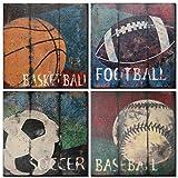 CUFUN Art¨C - Cuadros con vista oceánica, impresión en lienzo, decoración de pared, envuelto con marco de madera, fácil de colgar, juego de 4 piezas de 30 cm x 30 cm, Blue Sports, 12*12in*4pcs