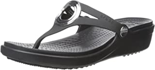 38746a424833 FREE Shipping on eligible orders. Crocs Women s Sanrah Beveled Circle Wedge  Sandal