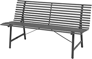 Tidyard 3 Seater Outdoor Garden Bench Patio Porch Chair Seat with Backrest E-Coated Steel Frame Solid Construction Courtya...