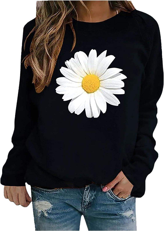 Womens Crewneck Sweatshirts, Casual Long Sleeve Pullover Funny Printed Loose PrinBlouse Tops