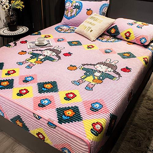 LCFCYY Sabana Bajera Ajustable,Sábanas de Color sólido de Lana de Coral cálida de Invierno,Protector de colchón con Estampado de Dibujos Animados para niños niñas Dormitorio G 120x200cm