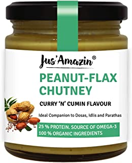 JUS' AMAZIN Organic Peanut Flax Chutney - Curry 'N' Cummin Flavour , Vegan,High Protein,Cholesterol Free, Dairy Free, Soy Free, Gluten Free, Plant-Based Protein   100% Organic Ingredients   200 GMS