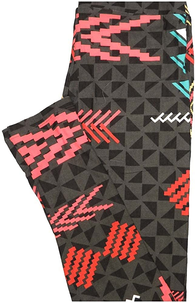 Lularoe One Size OS Brown Coral Pink Blue Geometric Buttery Soft Leggings - OS fits Adults 2-10