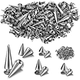 150 Sets ABS Plastic Punk Cone Spikes Studs Multiple Sizes Silver Screw Back Spikes Studs Rock Bullet Rivets for Punk Rock Style Clothing Accessories DIY Craft Decoration