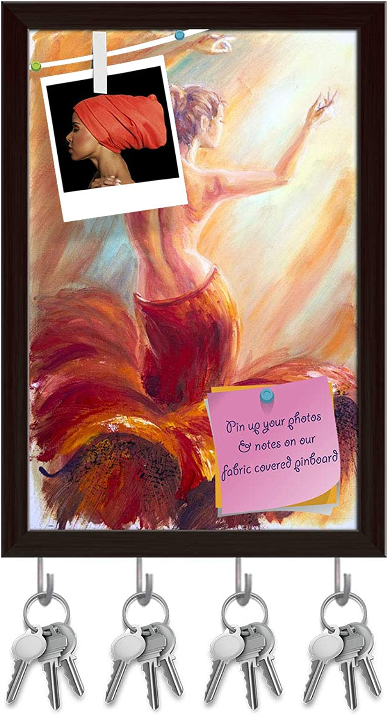 Artzfolio Beautiful Dancing Woman in Red Key Holder Hooks   Notice Pin Board   Dark Brown Frame 6 X 8.6Inch