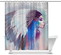 Luancrop Chica India Americana fumando una Pipa Boho Style Fashion House Decor Cortina de Ducha para baño Baño Decorativo Cortina de Ducha con Anillos