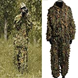 OUTERDO Camo Suits Ghillie Suits 3D Leaves Woodland Camouflage Clothing Army Sniper Military Clothes and Pants for Jungle Hunting,Shooting, Airsoft,Wildlife Photography,Halloween