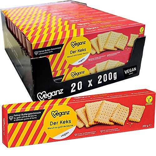 Veganz - Der Keks - knusprige vegane Butterkekse - leckeres Gebäck für Kaffee, Tee oder als Snack - Kekse Großpackung - 20 x 200 g