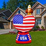 inslife 5FT Inflatable Love Heart with American Flag and Bald Eagle, Blow Up 4th of July Decorations with Tether Stakes, LED Lighted Yard Decorations Outdoor Indoor for Home Yard Garden.