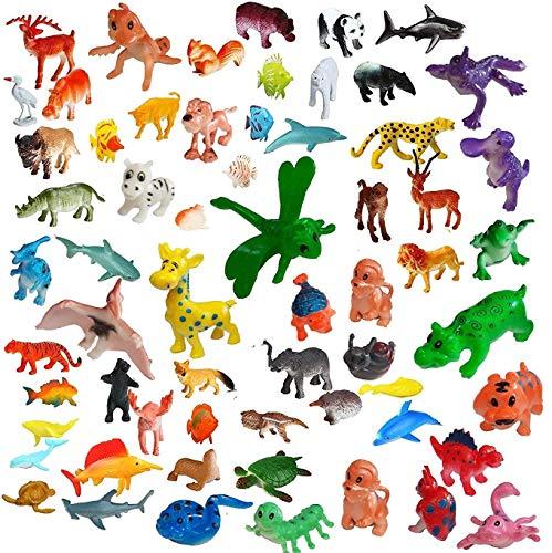Amitasha Jungle Wild + Aquatic Animal Toys Figure Playing Set for Kids (Pack of 53)
