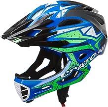 Cratoni C-Maniac Pro fietshelm Downhill BMX fullfacehelm kinbeugel mountainbikehelm (zwart-blauw-groen, M-L (54-58 cm)