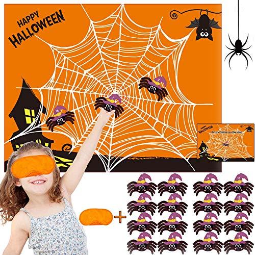 Halloween Party Lieferungen BESTZY 24pcs Halloween Kinder Party Aufkleber Spiel Games Ansteckspiele Supplies Witziges Spiel für den Halloween Party(Spinne)