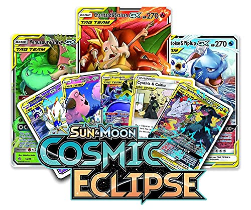 Paybox Poke-mon Cards Game Sun & Moon-Cosmic Eclipse with 2 Booster Packs and Cards for All Age