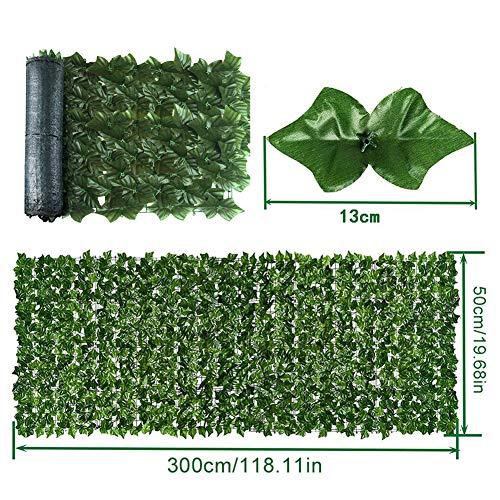 Creacom Panel de Cobertura de Hojas Artificiales, Cerca de Plantas de jardín Pantalla de privacidad protegida contra Rayos UV Valla de Hojas Verdes Rollo de cribado de Hojas Artificiales