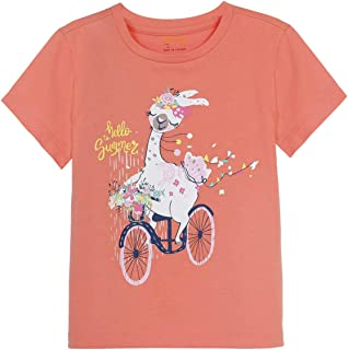 M.D.K Girls Short Sleeve Graphic Print Solid Color Comfy Casual Tee T-Shirt