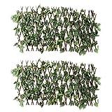 DELITLS Valla de enrejado retráctil con hojas verdes artificiales y viñedos, pantalla extensible de madera para la privacidad, decoración interior y exterior para el hogar, jardín, patio, paredes