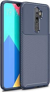 FINON OPPO A5 2020 ケース カバー スマホケース 【 カーボン デザイン (素材/TPU) 】 指紋防止 薄型 軽量 耐衝撃 簡易脱着 ソフトケース カラー:ブルー
