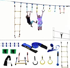 Gentle Booms Sports Ninja Line Obstacle Course Kit Monkey Bar Kit 40 Foot, Kids Slackline Hanging Obstacle Course Set, Extreme Training Equipment for Outdoor Play