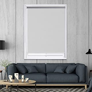 HOMEDEMO Blackout Window Shades Cordless UV Roller Shades & Blinds, White 39W x 72H, Room Darkening Spring Shade for Office, Bedroom, Kitchen