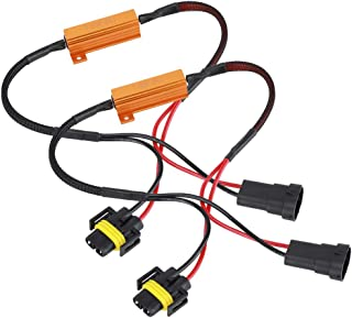 Acouto 2 PCS Harness Single Resistance, LED Lamp H11 8RJ Single Resistance Harness Wire 12V 50W Headlight Accessories