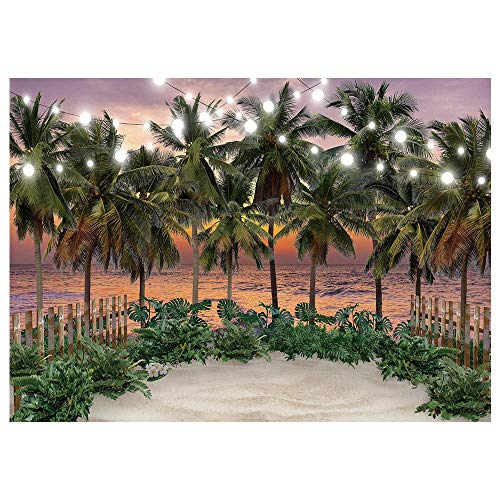 Funnytree 7x5FT Seaside Sunset Photography Backdrop Summer Sea Beach Tropical Palm Tree Flower Background Hawaiian Aloha Wedding Holiday Party Decoration Banner Supplies Photobooth Prop