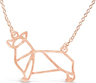 Rosa Vila Corgi Necklace, Corgi Origami Necklace, Corgi Gift Perfect for Dog Lovers, Dog Jewelry for Women, Dog Necklaces for Lovers of Corgis, Gifts for Corgi Lovers