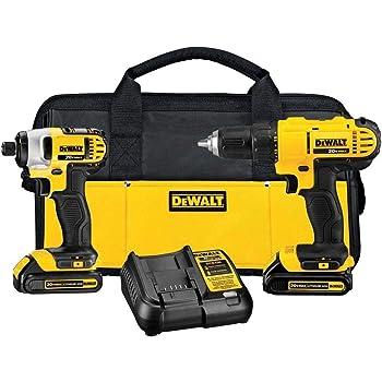 DEWALT - Brush 20V MAX Cordless Drill Combo Kit, 2-Tool (DCK240C2) Yellow/Black Drill Driver/Impact Combo Kit