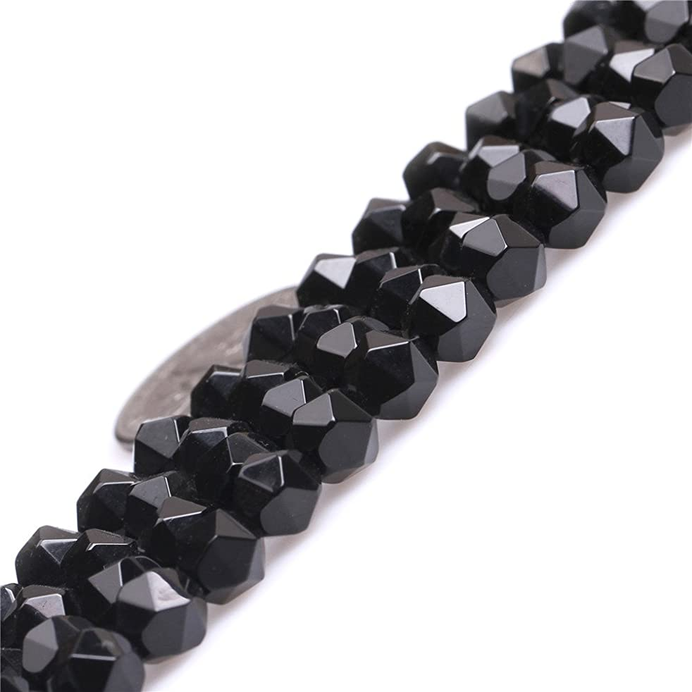 Black Agate Beads for Jewelry Making Natural Semi Precious Gemstone 6mm Faceted Strand 15