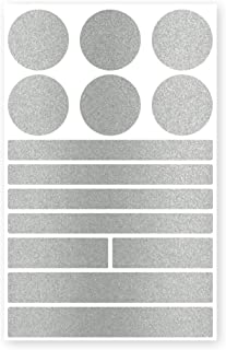reflecto Stick-On Reflektoren-Aufkleber in edler Metallic-matt Optik – 14-teiliges Set – selbstklebend – für Textilien, Kinderwagen, Ranzen, Helme, Kleidung, Jogging Jacke Rucksack Silber