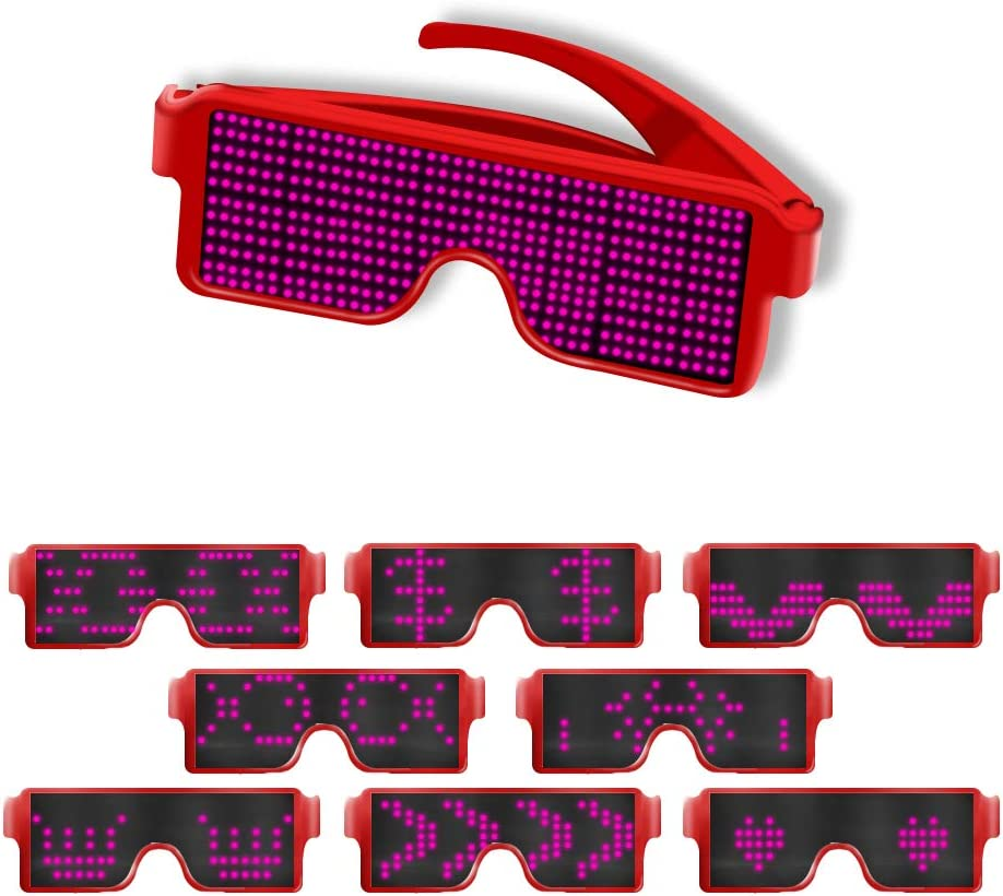Party Rave Parties Raves AINSKO Fancy LED Light Glasses Dynamic Flash Display Pattern Glasses USB Rechargeable for Festival Fun Nightclub Club Wireless LED Display Glasses Green Costumes Bars