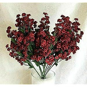 12 Baby's Breath Collection Gypsophila Wedding Centerpieces Silk Flowers Color: Burgundy