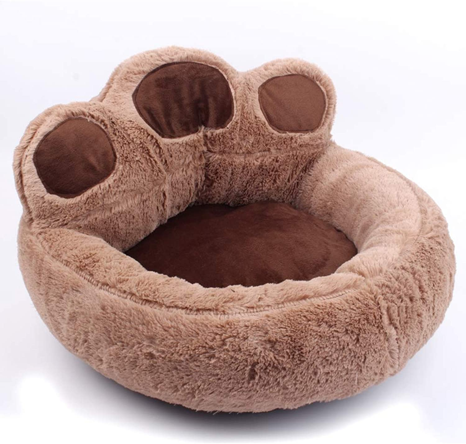 Kennel Cat Nest  Pet Supplies Autumn and winter bear paw pet dog pad,Brown,large