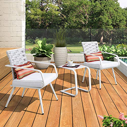 Hmcozy Grand Terrasse Premium-Patio Bistro Set, Patiomöbeln Sets, 3 Stück Patio Set Terrasse Tisch und Stühle, Weiss