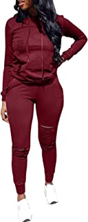 Women's 2 Piece Outfits Ripped Hole Pullover Hoodie Sweatpants Sports Tracksuit Jumpsuit Set Plus Size