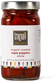 Tragano Greek Organics - Whole, Fire-Roasted Greek Capia (Red) Peppers | USDA-Certified Organic | 16oz jar - small batch, single-source.