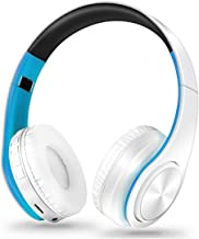 Meidly Wireless Headphones Bluetooth Headset Bluetooth Earphone Foldable Adjustable Headset with Mic for Phone,White Blue