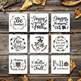 "9pcs fall stencils in package, and one stencil has many patterns. Each stencil is approx. 7.9"" x 7.9"", different from other small stencils with tiny pattern. Made of plastic material, durable and reusable, easy to clean after used. You can use them r..."