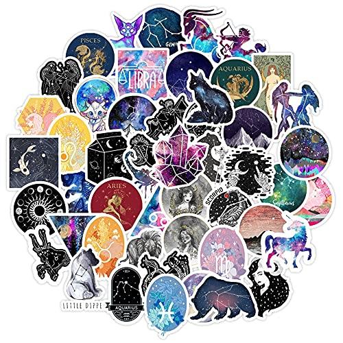 AXHZL Pegatinas de constelación de dibujos animados, sueños, galaxia adhesivas, resistentes al agua, monopatín, guitarra, maleta, portátil, doodle, juguete infantil, 50 unidades