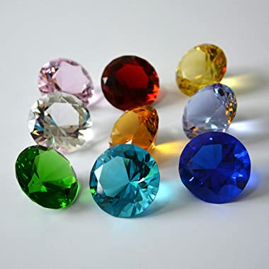 Zoogamo 30mm Diamond Shaped Multicolor Glass Crystal Paperweight – 12 Pieces Home Office Decor & Wedding Favors Decoratio