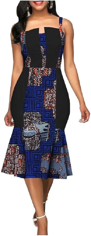Doanpa Womens PlusSize Spaghetti Strap Summer Dashiki Bodycon Dress