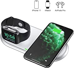 CHOETECH 2 in 1 Dual Wireless Charger (MFI Certified), Wireless Charging Pad & Foldable Apple Watch Charger Station Compatible Apple Watch 5/4/3/2/1,iPhone 11/11 Pro Max/XS/X,Airpods (No AC Adapter)