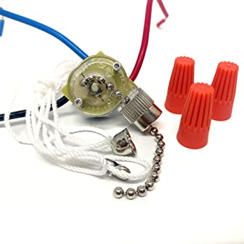 CeilingFanSwitch Zing Ear ZE-110 Ceiling Fan Light Switch 3 Way 3-Wire  Replacement Pull Chain Switch - - Amazon.com